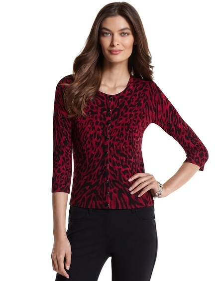 Red Leopard Print Cardigan