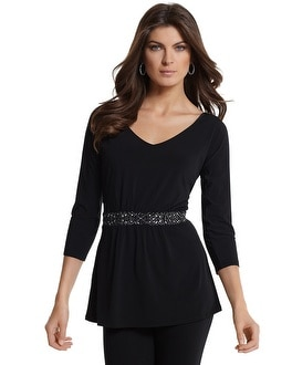 Embellished-Waist Knit Tunic