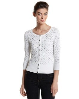 3/4-Sleeve Deco Studded Cardigan