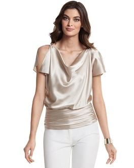 Silk Charmeuse Split-Sleeve Blouse