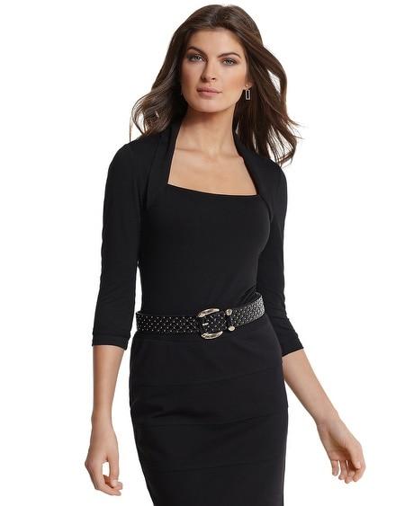3/4-Sleeve Black Faux Shrug
