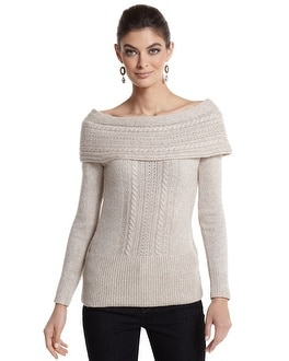 Off-the-Shoulder Cable Sparkle Sweater