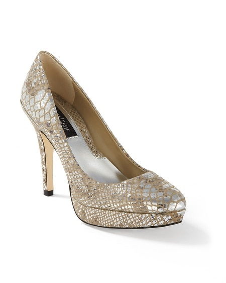 Metallic Snake-Print Leather Pumps