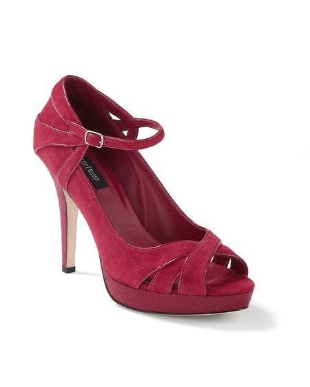 Red Suede Snake-Embossed Mary Jane