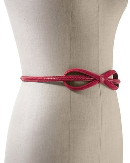 Red Suede/Snake-Embossed Bow Belt
