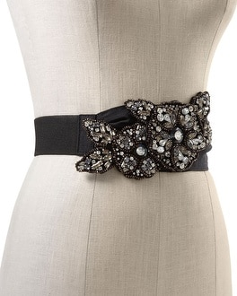 Crystal Flower Faille Stretch Belt