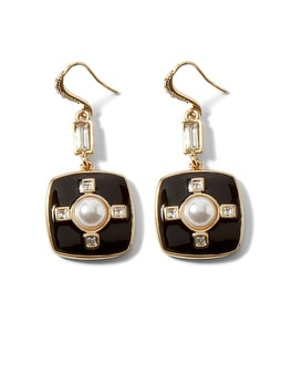 Black Enamel/Faux Pearl Drop Earring