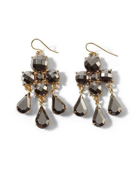 Steely Gray Sparkle Chandelier Earring