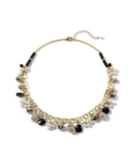 Jet/Pearl Goldtone Bauble Necklace