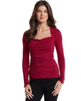 Long Sleeve Ruched Drape Neck Top
