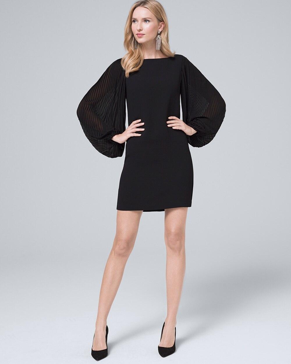 Chiffon Sleeve Black Shift Dress - White House Black Market