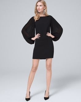 Chiffon Sleeve Black Shift Dress