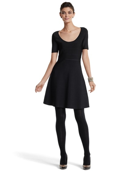 Black Banded Knit Skater Dress