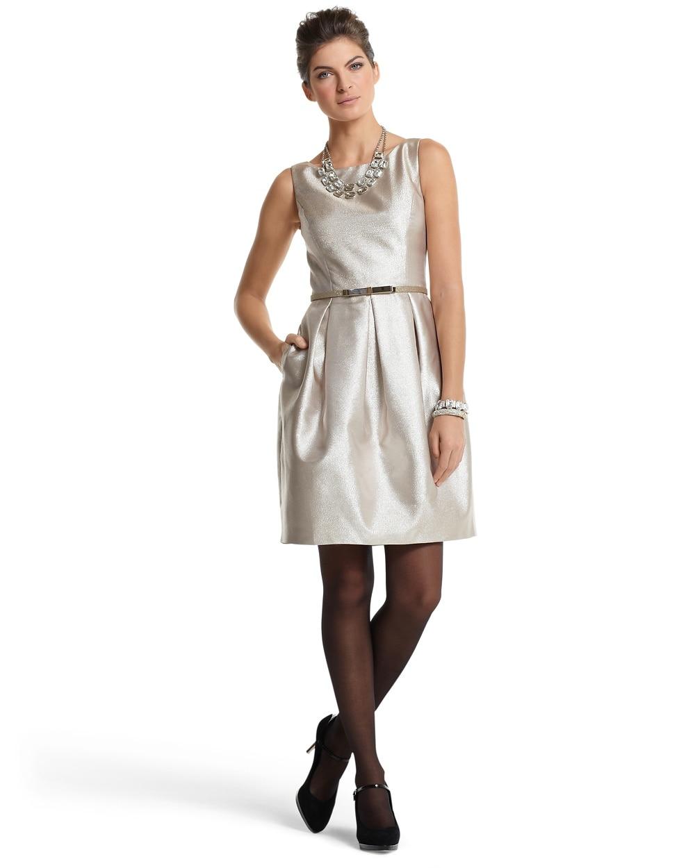 Gold Tulip-Skirt Dress - White House Black Market
