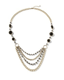 Goldtone/Crystal Long Swag Necklace