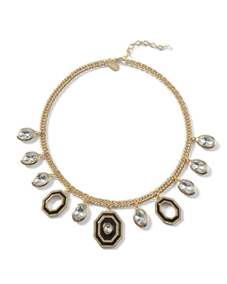 Goldtone/Black Charm Necklace