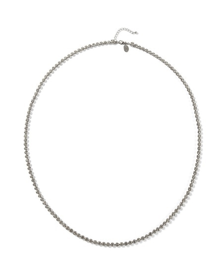 Silvertone Crystal Long Necklace