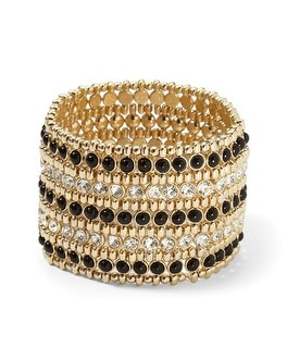 Black/Goldtone Crystal Stretch Bracelet