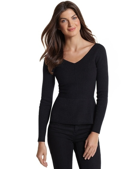 Black Shimmer Peplum Sweater