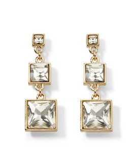 Goldtone/Crystal Square Drop Earring