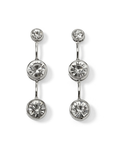 Silvertone Crystal Triple Drop Earring