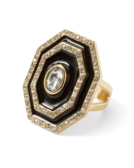 Goldtone/Black Enamel Ring
