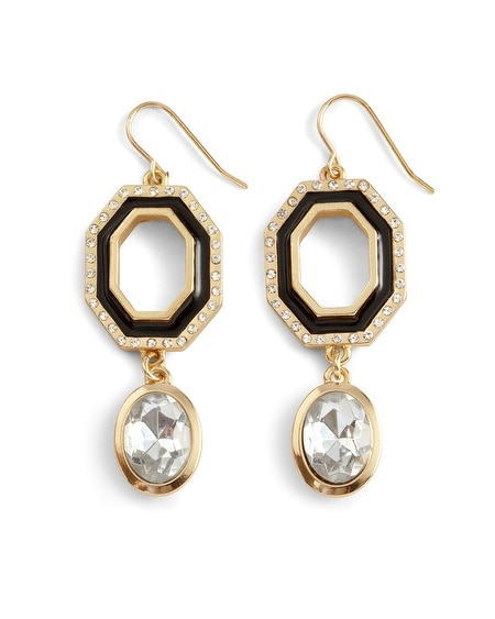 Goldtone/Black Crystal Multi-Drop Earring