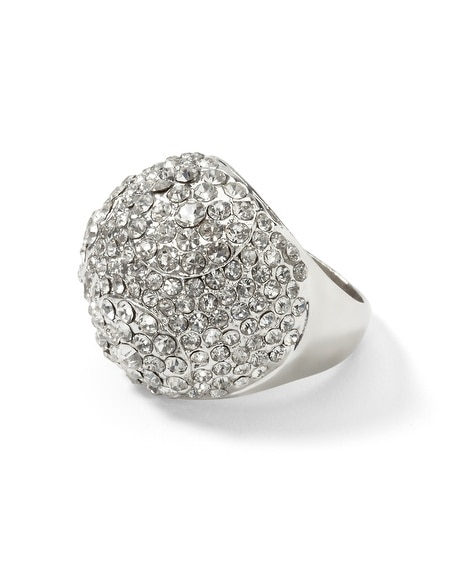 Silvertone/Pave Dome Cocktail Dome Ring