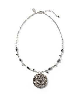 Silvertone/Grey Short Pendant Necklace