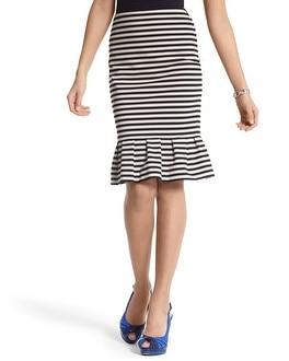 STRIPED PONTE FLOUNCE SKIRT