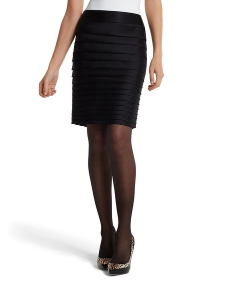 Black Satin Tiered Pencil Skirt