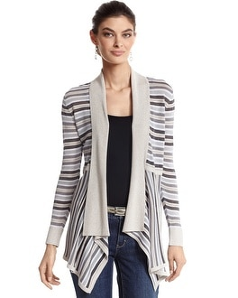Long Sleeve Neutral Stripe Coverup