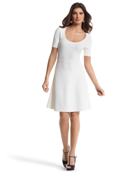 White Banded Knit Skater Dress