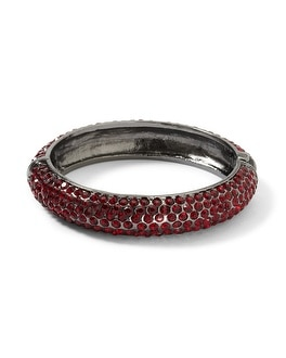 Red/Hematite Pave Hinged Bangle