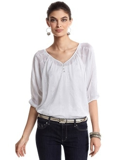 White Embroidered Chiffon Blouse