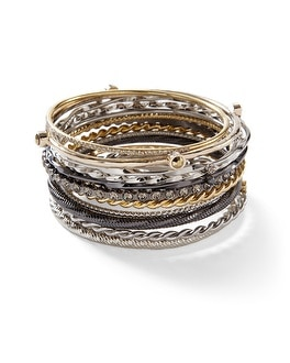 Mixed Metallic Textured Bangles