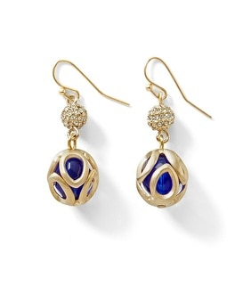Blue Caged-Bead Drop Earring