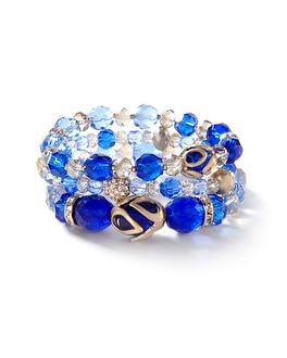 Blue Caged-Bead Stretch Bracelet Set