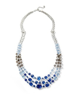 Blue Ombre Faceted Multi-Strand Necklace