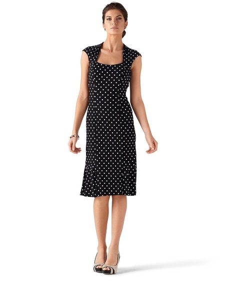 Sleeveless Knit Dot Sheath