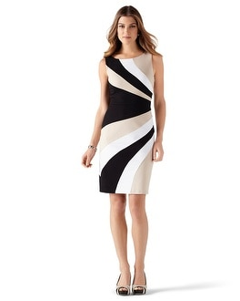 Sleeveless Swirl Colorblock Sheath