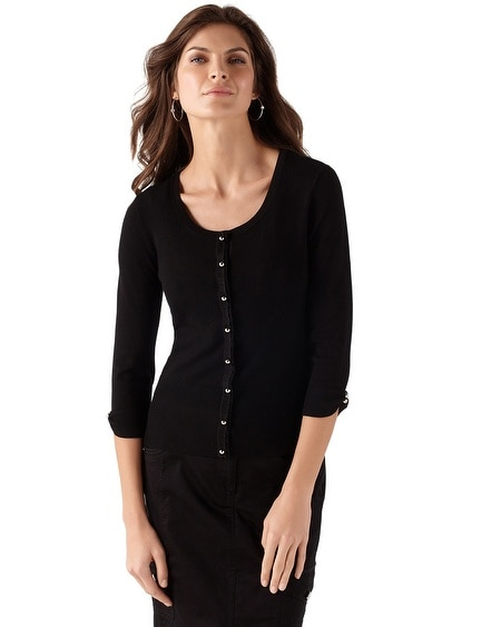 Ruffle Placket Black Cardigan