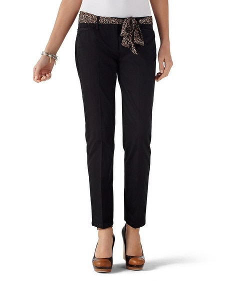 Black Cotton Sateen Crop Chino