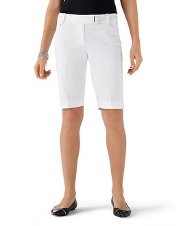 White Cotton Sateen Bermuda Short