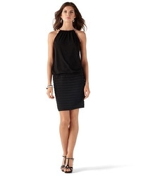 Black Halter-Chain Blouson Dress