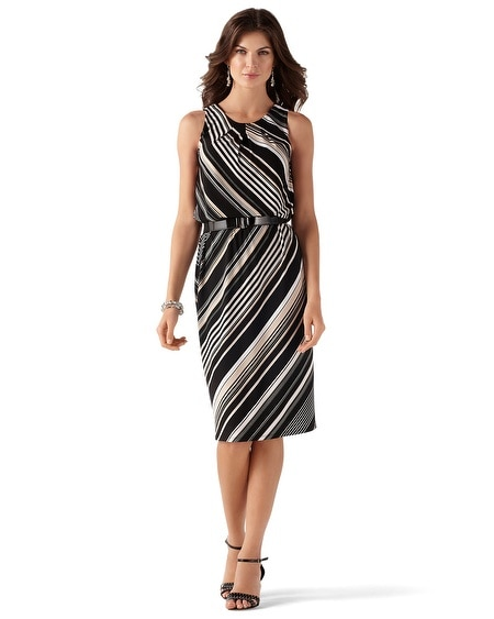 Sleeveless Diagonal Stripe Sheath Dress