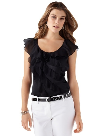 Stretch Silk Cascading Ruffle Tee
