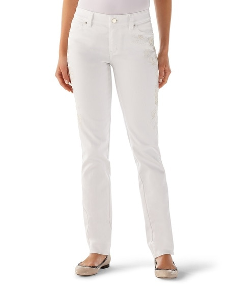 Blanc Embroidered Slim Ankle Jean