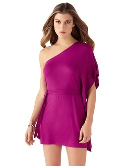 Very Berry One-Shoulder Tunic Coverup