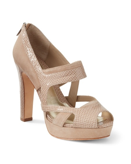 Neutral Suede/Snake-Embossed Heel